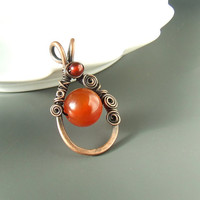 Red carnelian pendant, natural stone necklace, copper pendant, handmade jewelry