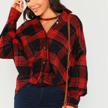 Button And Twist Front Detail Plaid Shirt