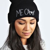 Jessica Meow Embroidered Beanie