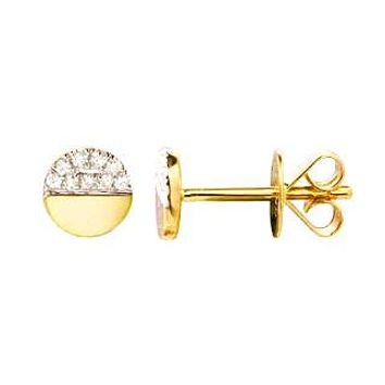 Gold & Diamond Circle Stud Earring
