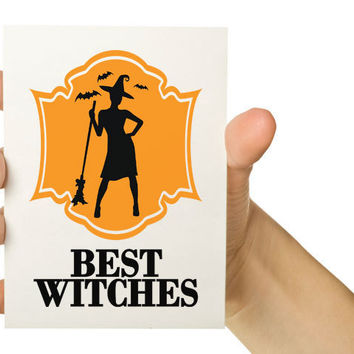 Best Witches Halloween 5x7 Greeting Card by TheWallaroo on Etsy