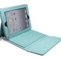 FOM Wireless Bluetooth Leather Case Keyboard with Stand for iPad 2 iPad 3 - Blue Ship from USA