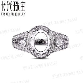 6x8mm Oval Shape 14k White Gold Pave 0.52ct Diamond Semi Mount Ring Free Shipping
