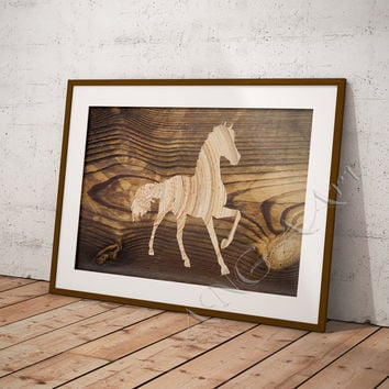 Horse, Horse print, Horse wall art, Horse poster, Horse home decor, Wood texture, Rustic decor, Pritnable horse, Animal poster, Horse prints