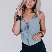 The A Team Lace Up Camisole - Light Blue