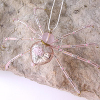 Beautiful Beaded Christmas Spider Ornament -- Pink/Clear