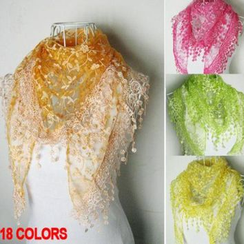 ESBU3C 2016 fashion pashmina lace scarf women Triangle echarpes cachecol winter cape spain scarves gifts for girl