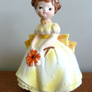 Vintage 1950s Girl Planter - Lovely Detail - Mid-Century Ceramic - Yellow Dress Brown Pigtails - Caffco Japan