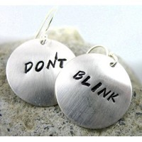 Sterling Silver Doctor Who Inspired Earrings - Don't Blink - Handcrafted, Hand Stamped Jewelry
