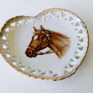 Vintage Heart Shaped Horse Equine Equestrian Plate Wall Hanging- Treasury Item