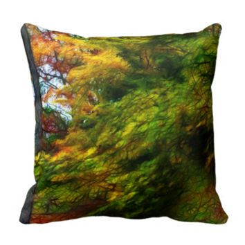 Fall Color Abstract Throw Pillows