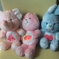 """Lot of 3 Vintage Kenner Care Bears 13"""" Plush Pink Heart Cousin Elephant  Bunny"""