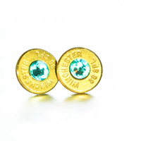 Bullet Stud Earrings- Brass and Light Turquoise