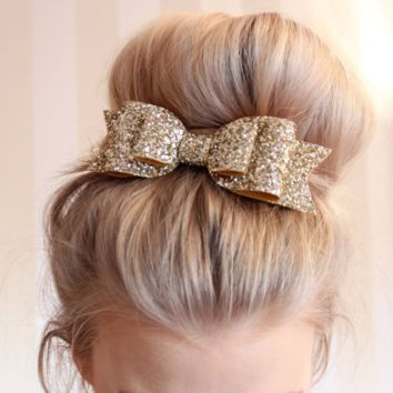 7-color large size shiny gold glitter bow hairpin Ms  Spring clip Snow ya gold