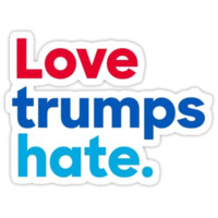 'Love Trumps Hate' Sticker by Peter Vance