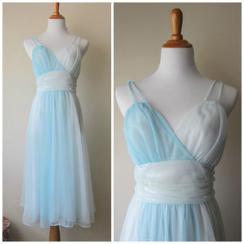 50s Vanity Fair Sheer Nightgown -- Grecian Ice Princess -- Blue & White Nylon Chiffon Dress / Pin-up Burlesque Daring Boudoir Dress Size 36