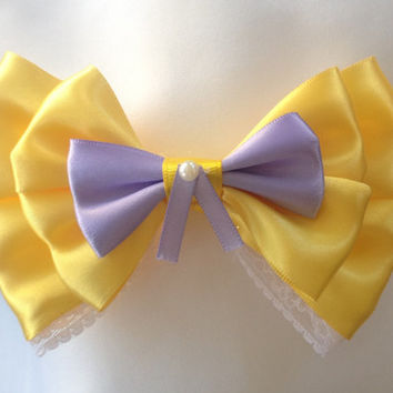 Jane Porter Tarzan Yellow and Lace Bow, Class and Sophistication by Design Bowtique