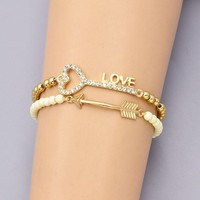 Bead Link Chain Key Love Arrow Charm Bracelet for Women (B3369)
