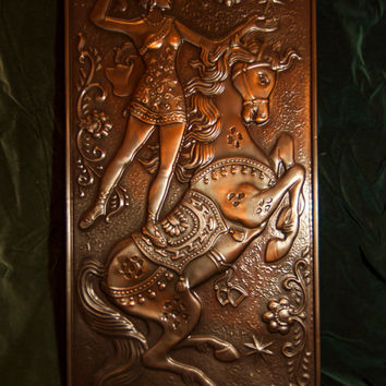 Wall Hangings Copper , relief metal picture Girl Riding Circus Vintage soviet FREE SHIPPING!!!