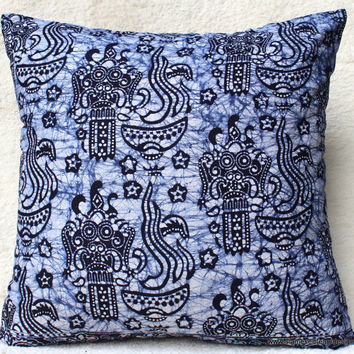 20 inch Ethnic Balinese Batik Decorative Throw Pillow / Cushion Cover In Indigo Blue and White