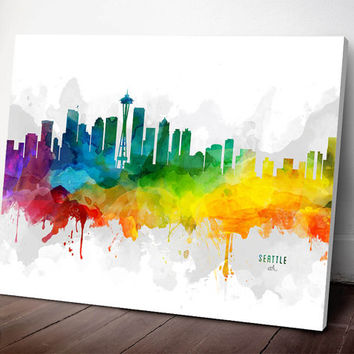 Seattle Skyline Canvas,  Seattle Print,  Seattle Art, Seattle Gift, Seattle Cityscape, MMR-USWASE05C