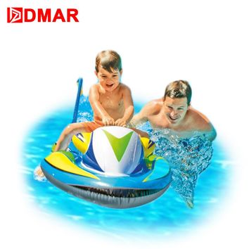 DMAR 117cm 46inch Inflatable Speedboat Pool Float Ride on Toys for Kids Swimming Ring Circle Inflatable Mattress for Beach Sea