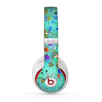 The Trendy Green with Splattered Paint Droplets Skin for the Beats by Dre Studio (2013+ Version) Headphones