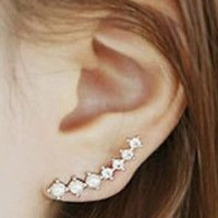 Celebrity Inspired Crystal Ear Climbers Earring Pins - Pair