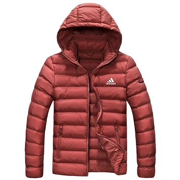 Adidas Winter Fashion Men Women Casual Zipper Hoodie Cardigan Couple Cotton Jacket Coat Windbreaker Red