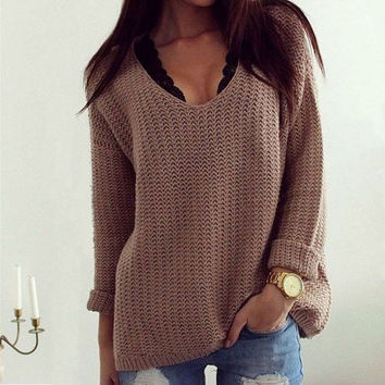 [BIG SALE] Casual Women Long Sleeve Knitwear Jumper Cardigan Coat Jacket Sweater Pullover Gift