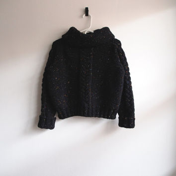 Black Speckled Knit Wool Turtleneck Sweater