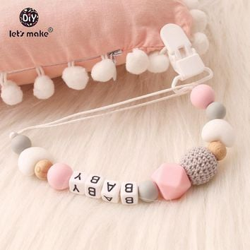 Let's Make Pacifier Clip Chew Silicone Teething Letter Beads Custom Name Name Bracelet Personalized Teething Nursing Pendants