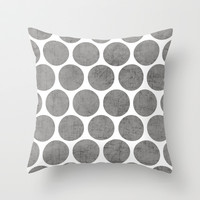 gray polka dots Throw Pillow by Her Art