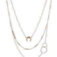 Lonna & Lilly Gold-Tone and Glitz Crescent Multi-Layer Necklace