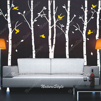 trees wall decal nursery wall decal baby wall decal children wall decal bedroom vinyl decal wall sticker-6 Birch Tree with Flying Birds and