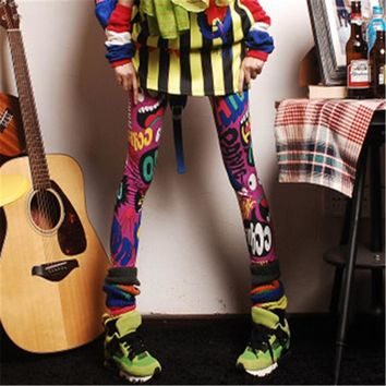 Plus Size Fashion Ankle Leggings Mid Print Thin Legging 7 Colors Rock Roll Style High Quality 71852