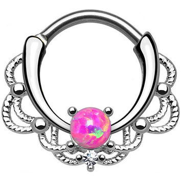 Single Opal Pink Lacey Septum Clicker 316L Surgical Steel