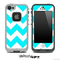 Medium Turquoise and White Chevron Pattern Skin for the iPhone 5 or 4/4s LifeProof Case