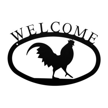 Wrought Iron Small Rooster Welcome Home Sign Small