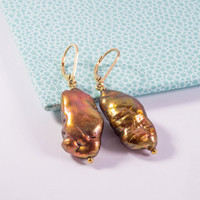 Chocolate Baroque Pearl Earrings Statement Women Fashion Jewelry Drop Style Online Dangle Leverback Gold Filled New Handmade