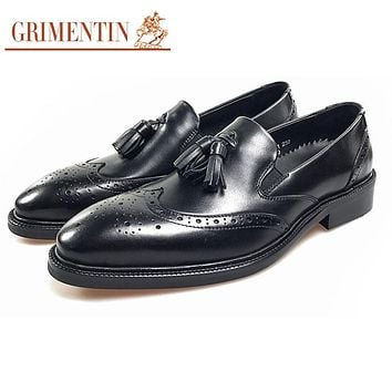 Fashion Tassel Formal Shoes Genuine Leather Black Business Office Shoes
