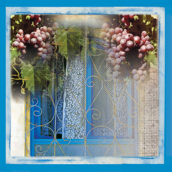 Mediterranean Window Canvas Art, Grapes Photograph, Israeli Landscape Art, Canvas Art Print