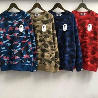 ca kuyou Unisex Men's Bape A Bathing Ape Camo Cotton Crew Neck Sweats Sweater Shirts
