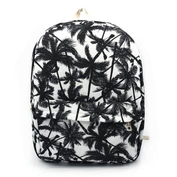 Ibeauti Printed Palm Tree Backpack, Cute Canvas Laptop Rucksack Backpacks Pattern for College Grils,in 4 Chic Style