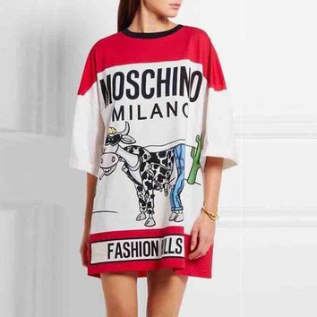 Moschino Print Women Short Sleeve Dress F