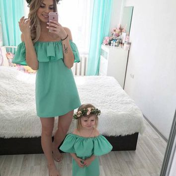 Mother Daughter Ruffled Off Shoulder Dress