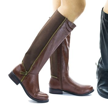 Pilot36 Riding Boots w Stacked Heel, Elastic Saft & Faux Fur Inner Lining