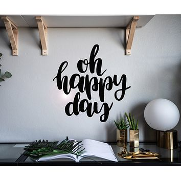 Vinyl Wall Decal Lettering Quote Oh Happy Day Room Home Decor Idea Stickers Mural 22.5 in x 22.5 in gz156