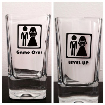 Game over & level up shot glass set. Bachelor and bachelorette shot glass set.