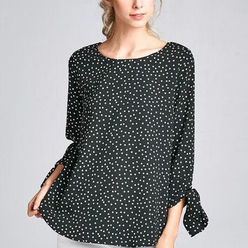 Black Polka Dot 3/4 Length Sleeve Shirt